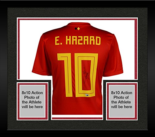 Eden Framed - Framed Eden Hazard Belgium Autographed 2018 Red Home Jersey - Fanatics Authentic Certified - Autographed Soccer Jerseys