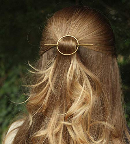 Catery Minimalist Gold Hair Accessories Round Barrette Star Moon Hair Pin Clips Fashion Geometric Hair Slide for women and Girls (Circle)