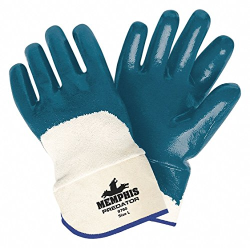 MCR Safety 9760XL Predator Supported Nitrile Coated Palm Men's Gloves with Safety Cuff, Smooth, Blue/White, X-Large, 1-Pair