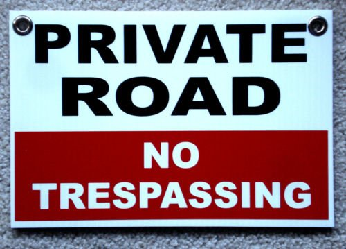 VINBOX PRIVATE ROAD NO TRESPASSING 8X12 Plastic Coroplast Sign w/Grommets Security from VINBOX
