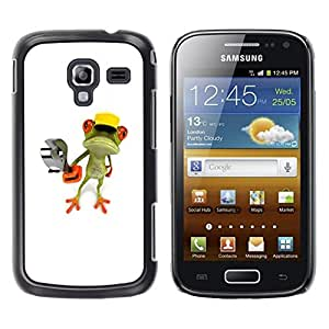 Design for Girls Plastic Cover Case FOR Samsung Galaxy Ace 2 Construction Work Frog Wrench White OBBA