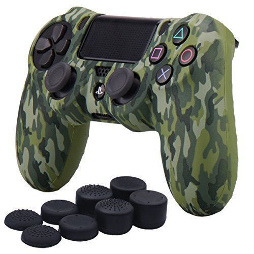 Price comparison product image YoRHa Water Transfer Printing Camouflage Silicone Cover Skin Case for Sony PS4 / slim / Pro controller x 1(green) With Pro thumb grips x 8