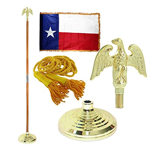 - Super Tough Texas 3 x 5 Flag, Flagpole, Base, and Tassel (Metal Eagle, 8 Foot Pole)