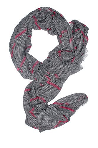Men Striped Scarf Blanket Wrap Stole Fall Scarves Versatile Mens Accessories (black, white, pink)