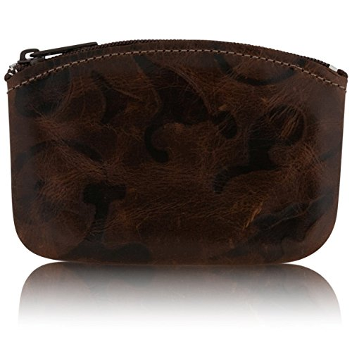 Classic Men's Large Coin Pouch Change Holder, Genuine Leather,Zippered Change Purse, Pouch Size 5 x 3 By Nabob (Venetian Brown)