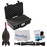 Pelican 1525AirTP Carry-On Case (Black, with Pick-N-Pluck Foam) + Giottos Rocket Air Blaster + Lens Pen + 5 Piece Cleaning Kit + Photo4Less Camera & Lens Cleaning Cloth - Valued Accessory Bundle