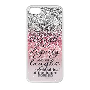 iPhone 6 4.7 6 4.7 Case Cover - She is Clothed with Strength & Dignity She Laughs without Fear of the Future Proverbs 31:26 4.7 - Bible Verse Pink Sparkles Glitter iPhone 6 4.7 6 4.7 TPU (Laser Technology) Case Rubber Sides Shell