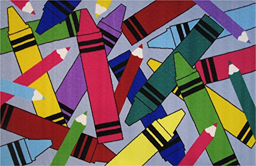Crayons Rug - Fun Rugs Fun Time Crayons and Pencils Novelty Rug, 39 x 58