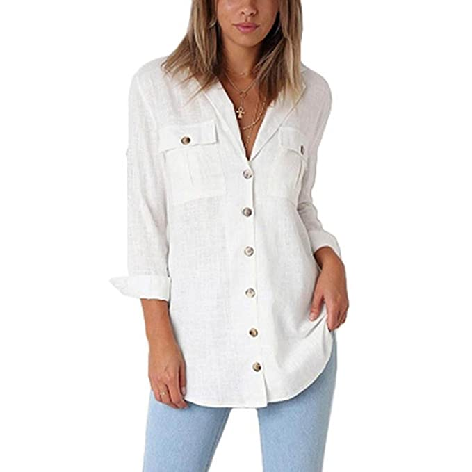 promo code 1a15c 02e36 Longra Camicia a Maniche Lunghe da Donna con Tasche T-Shirt ...