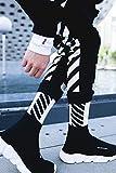 Generic Three pairs of wind Harajuku street hardcover Korean black and white diagonal stripes slide motion Socks socks man boy and women girls lady couple socks