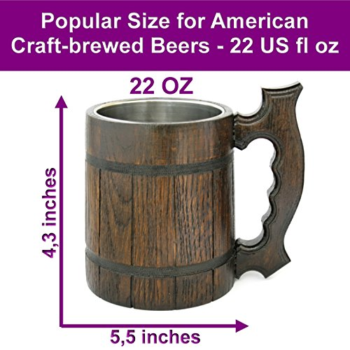 Wooden Beer Mug 20 oz for Men. Handmade Coffee Drinking Cup. Large Pirate Pint Wood Stein. Viking Ale Mead Tankard with Handle. Fathers Day, Birthday Cool Gift Box. Funny Anniversary Accessories by BarvA (Image #5)
