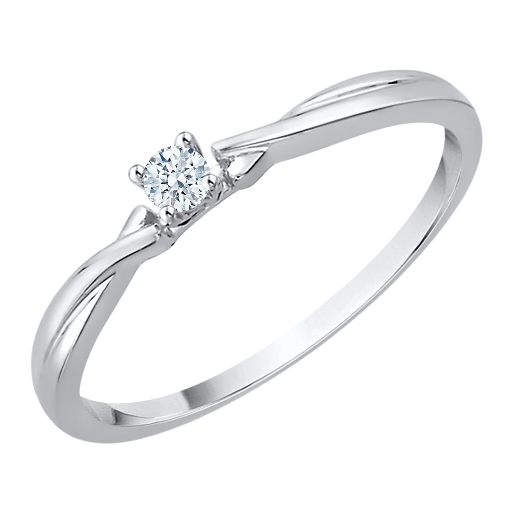 Diamond Promise Ring in Sterling Silver (1/10 cttw) (I-Color, SI3-I1 Clarity) (Size-8)