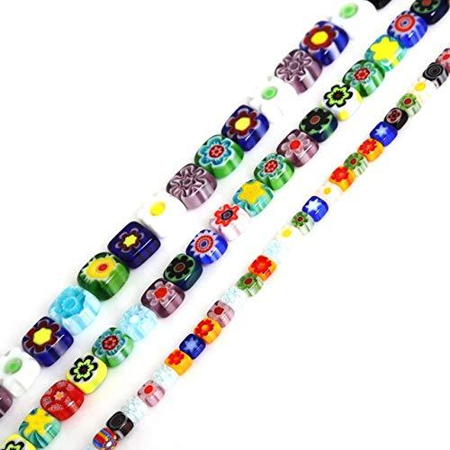 (Calvas Hot Sale 4mm 6mm 8mm Round/Square Shape Beads Glass Millefiori Flower Lampwork Beads for Bracelet Jewelry Making & DIY Craft - (Color: Round, Item Diameter: 8mm Approx 48pcs))