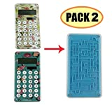 Pack 2,J-SO Solar Energy and Button Battery Dual Power Supply Calculator for Student,children,