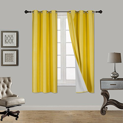 LuxuryDiscounts 1 Piece Thick Faux Silk Blackout Insulated Room Darkening Grommet Top Window Curtain Panel Drapes with Foam Back Layer Protection (Yellow, 37