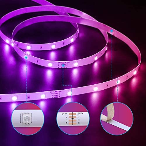 Govee 65.6 Feet Led Strip Lights Work with Alexa and Google Assistant RGB for Bedroom Kitchen
