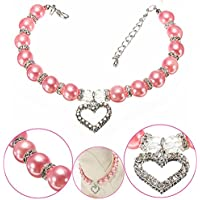 Meiyiu Pet Supplies Stylish Crystal Heart Charm Pendant Jewelry Pendant Pink Pet Puppy Dog Cat Piggy Pearl Necklace Pet Accessories Dogs Cats Collar M