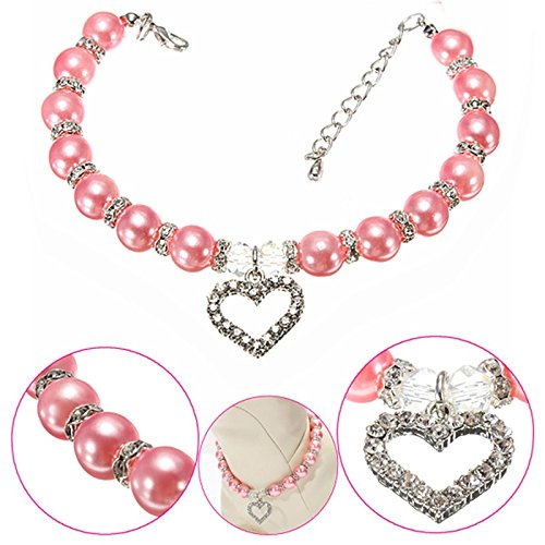 Zehui Stylish Pink Pet Puppy Dog Cat Piggy Pearl Necklace Crystal Heart Charm Pendant Jewelry Pendant Pet Accessories Dogs Cats Collar M (Rhinestone Collar Party)