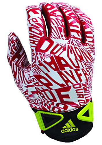 adidas Scream Adult Football Receiver's Gloves, White/Red, Small