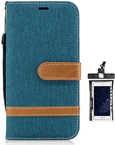 iPhone 7 Plus プラス レザー ケース, 手帳型 アイフォン 7 Plus プラス 本革 カバー収納 財布 耐摩擦 ビジネス 携帯カバー 無料付スマホ防水ポーチIPX8 Holistic