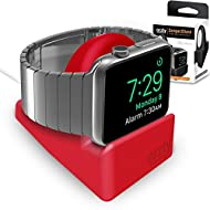 Orzly® Night-Stand pour Apple Watch ROUGE - Station de Charge mode Nightstand - Station d'accueil - Support Bureau Compact HQ Compatible Apple Watch 38 mm / Apple Watch 42 mm - Avec fente pour dissimuler votre câble de recharge