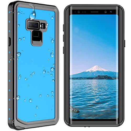 Samsung Galaxy Note 9 Waterproof Case, SPIDERCASE Shockproof Snowproof Dirtproof IP68 Certified Waterproof Case for Samsung Galaxy Note 9 (Blue/Transparent) (Cheap Samsung Note 2 Phone Cases)