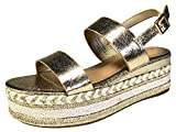 BAMBOO Women's Single Band Espadrilles Platform Sandal with Ankle Strap, Gold, 7.5 B (M) US