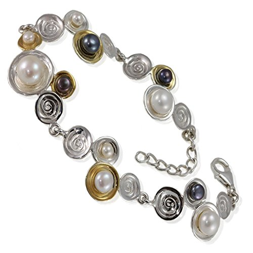 En argent sterling Bracelet Bijoux: Design abstrait «bulle» avec Noir et Blanc Perles