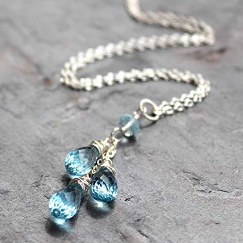 Blue Topaz Necklace Sterling Silver Teardrop Cascade Pendant November Birthstone 18 Inch