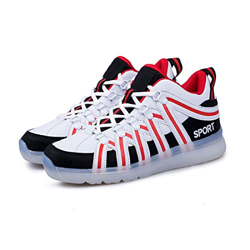 LED USB Schuhe Freizeit amp;N O Rot Herren Damen Farbe Unisex SportSchuhe 7 Aufladen Schuh Kinder Sneakers Erwachsene fuer Leuchtend Turnschuhe nFBwx