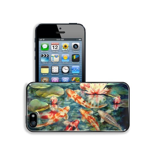 (Paintings Fish Koi Artwork Lily Pads Apple iPhone 5 / 5S Snap Cover Premium Aluminium Design Back Plate Case Customized Made to Order Support Ready 5 inch (126mm) x 2)