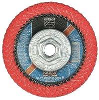 "PFERD 67258 Polifan PFR Curve Radial Type Flap Disc, Ceramic Oxide, 4-1/2"" Diameter, 5/8-11 Thread, 13300 rpm, 60 Grit"