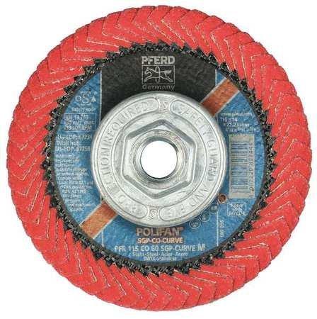 PFERD 67258 Polifan PFR Curve Radial Type Flap Disc, Ceramic Oxide, 4-1/2'' Diameter, 5/8-11 Thread, 13300 RPM, 60 Grit by Pferd