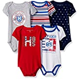 Tommy Hilfiger Baby Boys' 5 Pack Printed and Solid Bodysuits, Red/Gray, 6/9M