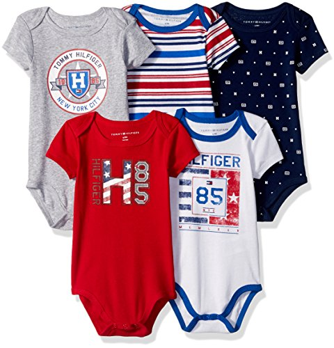 tommy-hilfiger-baby-boys-5-pack-printed-and-solid-bodysuits-red-gray-6-9m
