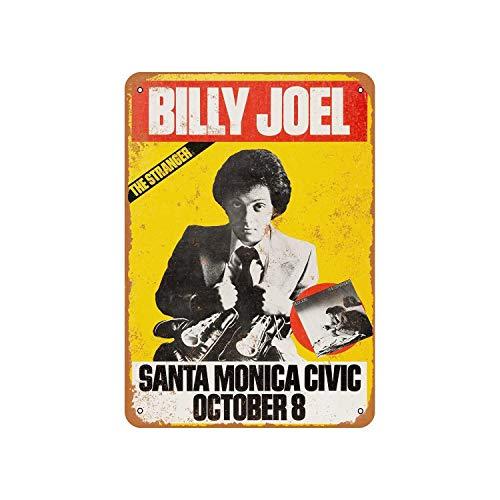 Fhdang Decor Vintage Pattern 1977 Billy Joel in Santa Monica Vintage Look Aluminum Sign Metal Sign,12x18 Inches