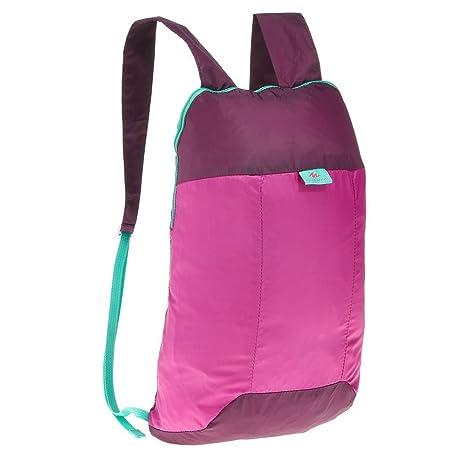 nuova collezione 4024a 5c3df QUECHUA, zainetto da escursionismo/zaino per festival all'aperto, comoda  borsa da viaggio ultra pieghevole, compatta, 10 litri, 8357282, Pink / ...