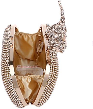HKDUC Luxury Rhinestone Women Evening Bag Mini Wedding Party Clutch Dazzling Crystal Flower Ladies Handbags Chain Shoulder Bags