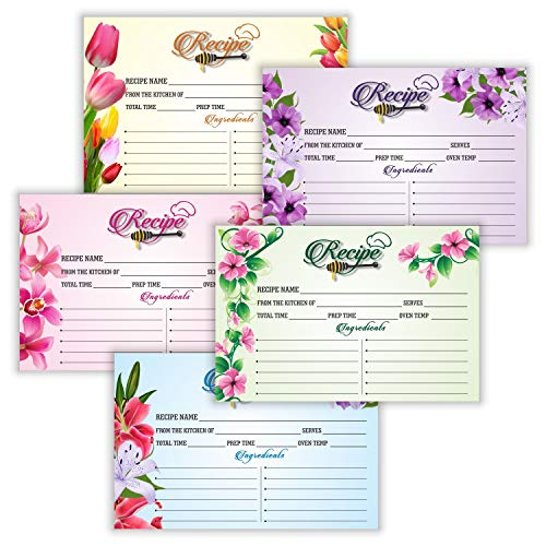 Baby Shower Recipe Card - Set of 50 Premium Recipe Cards - 4x6 Double Sided - Floral Design in 5 Color for Wedding Bridal Shower