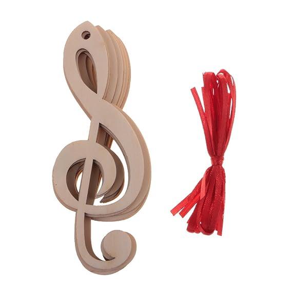 Sharplace 10pcs Etiquette Bois Forme Note Musique en Bois ...