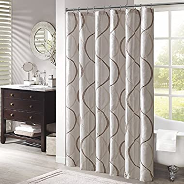 Madison Park MP70-1915 Serendipity Shower Curtain 72x72  Ivory,72x72