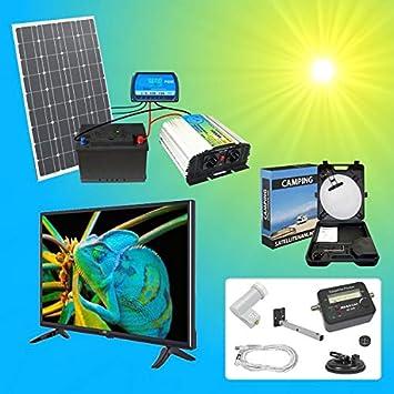 1A-INNOVATION SOLAR VORSPRUNG por SONNENENERGIE 100W Solarmodul TV SAT Komplettpaket 220V TÜV calidad 100Ah batería wartungsfrei 2X 100W Hochleistungs Solarmodul 1000W calidad Transformador: Amazon.es: Electrónica