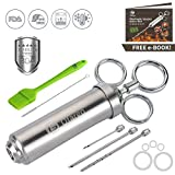 Meat Injector Syringe, Ofargo 2-oz Seasoning Injector, Stainless Steel Flavor Injector, Food-Grade Turkey Injector Kit, Dishwasher Safe (3 Needles+5 O-rings+Basting Brush+Cleaning Brush) for BBQ Grill