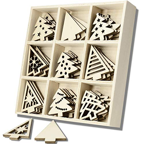 YuQi 45 PCS Wooden Trees Theme Scrapbooking Embellishments Kits with Storage Tray, Mini Laser Cuts Wood Shapes, Multicolor Wooden Christmas Trees Ornaments for Decorations, Kids