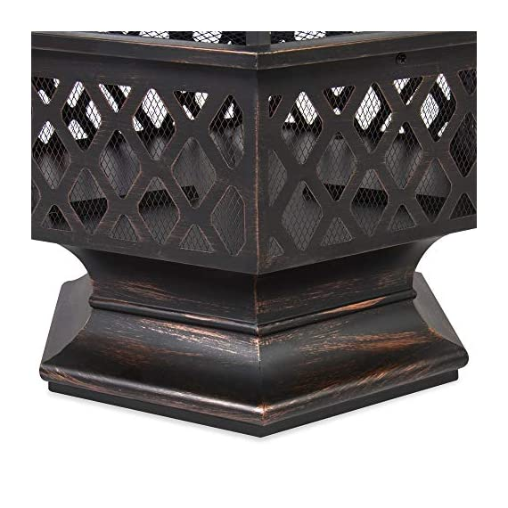 Best Choice Products 24in Hex-Shaped Steel Fire Pit Decoration Accent for Patio, Backyard, Poolside w/Flame-Retardant Lid - Black - Made with a durable steel construction, finished in a distressed bronze with a gorgeous rustic lattice design Features a deep and wide hex-shape bowl capable of holding a lot of firewood The fire-retardant lid does a great job at limiting ashes emitting from use - patio, outdoor-decor, fire-pits-outdoor-fireplaces - 51YbUss9AuL. SS570  -