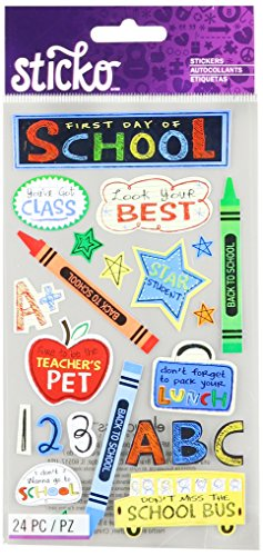 Sticko 52-00467 Flat, First Day of School, 24 Stickers, Multicolor
