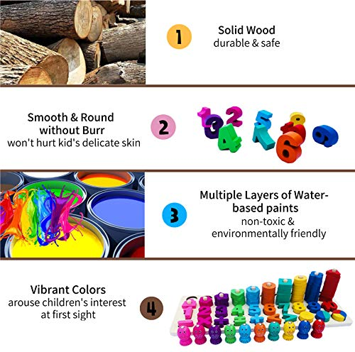 WoSaangWoodenNumberPuzzleSortingMontessoriToysforToddlers-Shape Sorter Stacking Wood Blocks Math CountingFishing Game,Preschool Educational Learning Toys for Kids3 4 5 Years Old