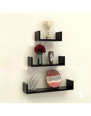 TANBURO Juego de 3 Estantes Tablero de pared en U-Forma para Libros CDs Estanterías