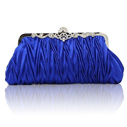 FASHIONROAD Fashion Road Womens Satin Pleated Evening Clutch Bags Purse Wedding Cocktail Party Handbags Blue