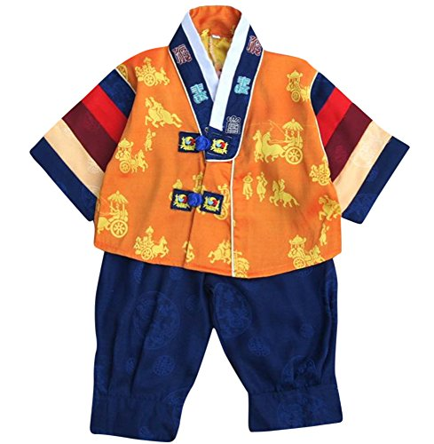 Korean Traditional Costume For Boys (CRB Fashion Korean Boys Toddler Kids Children Celebration Dolbok Traditional Outfit Top Pants Costume (2 to 3 Years Old, Blue))